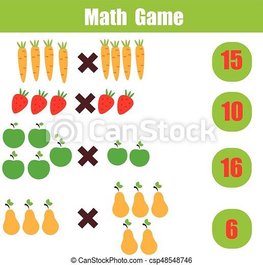 Erzieherisch, arbeitsblatt, spiel, multiplikation, mathematik ...