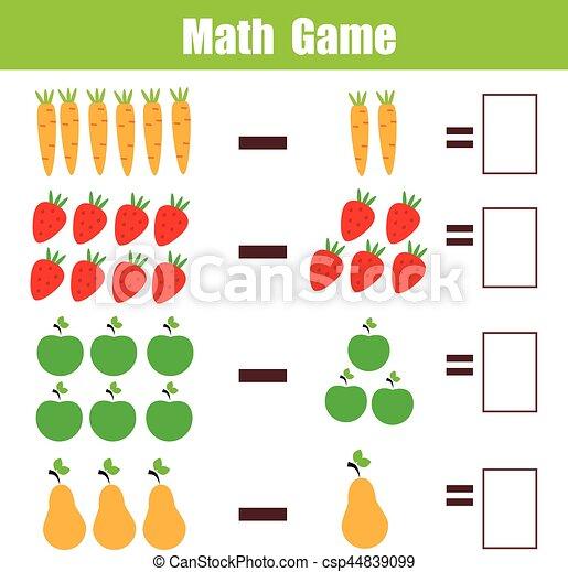 Erzieherisch, arbeitsblatt, spiel, subtraktion, mathematik, kinder ...