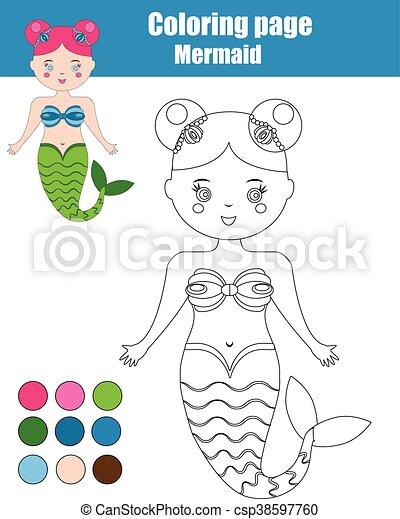 Erzieherisch, färbung, blatt, spiel, mermaid., kinder,... Clipart ...