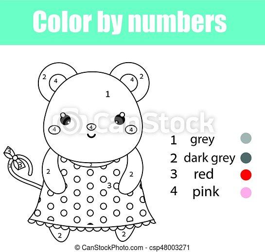 Erzieherisch, färbung, farbe, character., seite, zeichnung ...