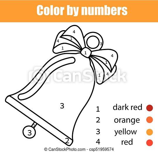 Erzieherisch, färbung, farbe, game., kinder, bell., seite, printable ...