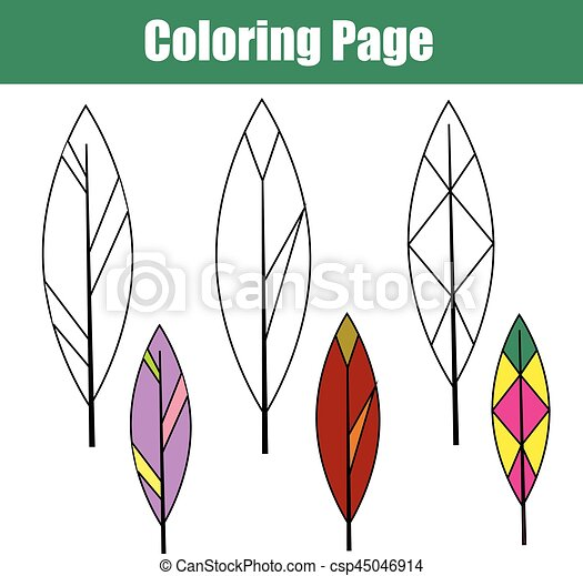Erzieherisch, färbung, feathers., kinder, seite,... Vektor Clipart ...
