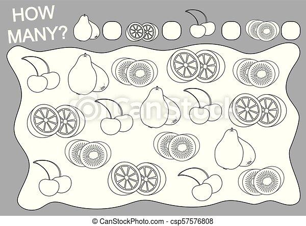 Farbbuch und Bildungsspiel, wie viele Früchte für Kinder. Vector Illustration. - csp57576808