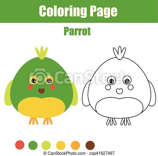 Erzieherisch, färbung, printable, parrot., spiel, zeichnung,... EPS ...
