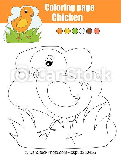 Erzieherisch, färbung, spiel, seite, chicken., kinder,... Clipart ...