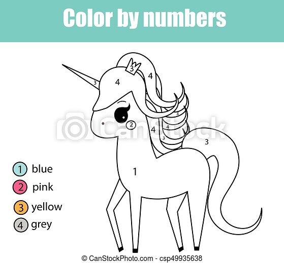 Erzieherisch, färbung, unicorn farbe, character., seite,... Vektoren ...