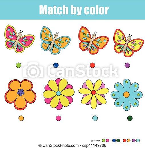 Erzieherisch, farbe, spiel, passend, kinder, streichholz.... Vektor ...