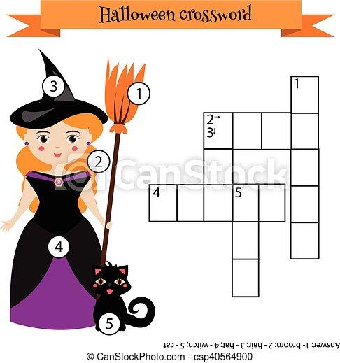 Erzieherisch, halloween, spiel, kreuzworträtsel, thema, answer ...