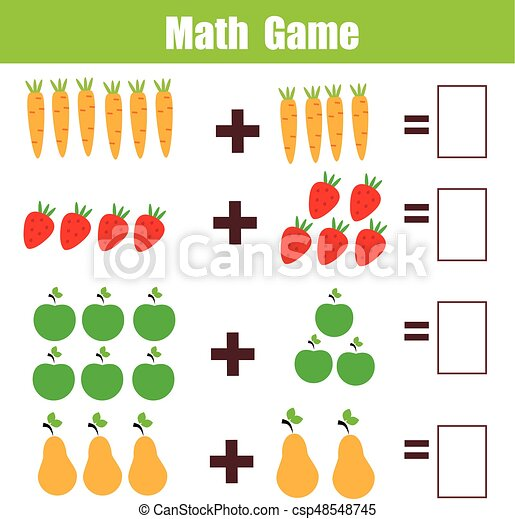 Erzieherisch, hinzufügung, arbeitsblatt, spiel, mathematik, kinder ...