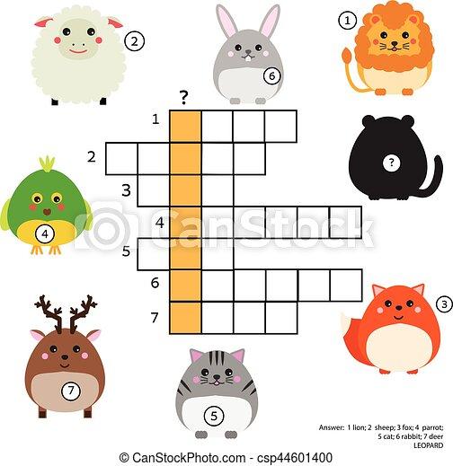 Erzieherisch, tiere, vokabeln, theme., kreuzworträtsel, spiel ...