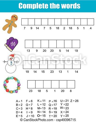 Weihnachten Wörter.Erzieherisch Vollständig Alphabet Jahr Theme Feiertage Zahlen Lernen Game Neu Weihnachten Wörter Kinder Winter