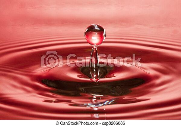 esés, water-drop, closeup, piros, folyékony - csp8206086