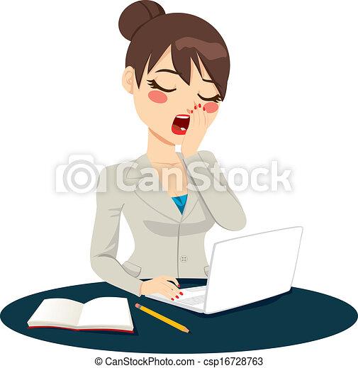 esaurito, donna d'affari, sbadigliare - csp16728763