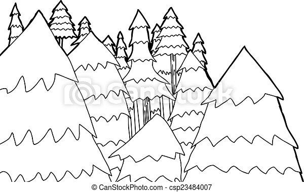 esboço, árvores, pinho - csp23484007