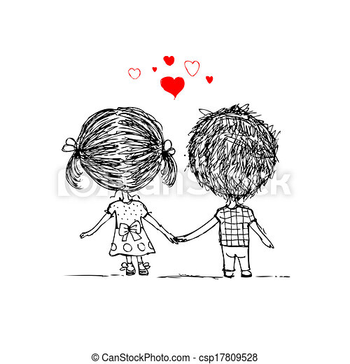 esboço, amor, par, valentine, desenho, junto, seu - csp17809528
