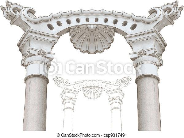 esboço, arco, colunas, clássicas - csp9317491