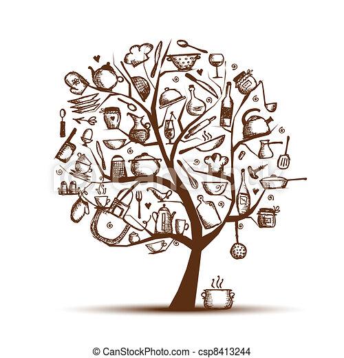 esboço, arte, árvore, utensílios, desenho, desenho, seu, cozinha - csp8413244