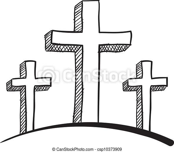 esboço calvário cruzes estilo doodle ilustração vetorial