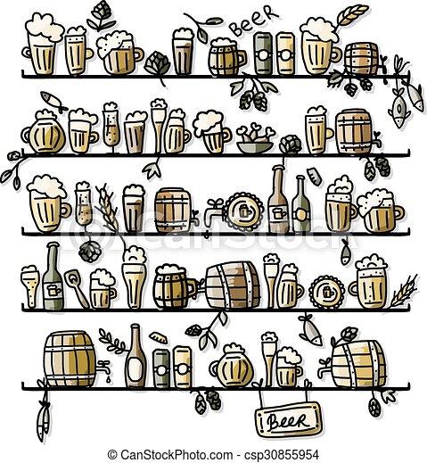 esboço, cerveja, desenho, seu, prateleiras - csp30855954