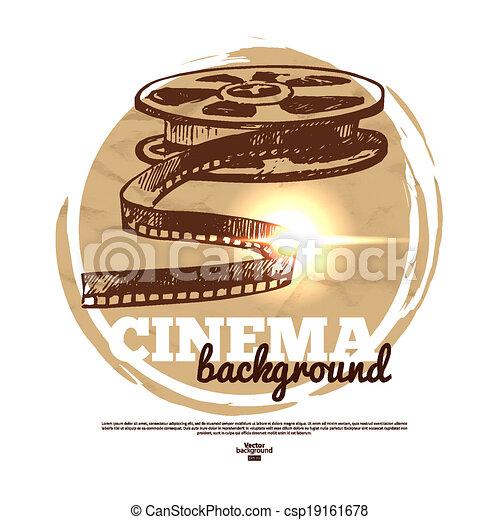 esboço, cinema, vindima, ilustração, mão, filme, desenhado, bandeira - csp19161678