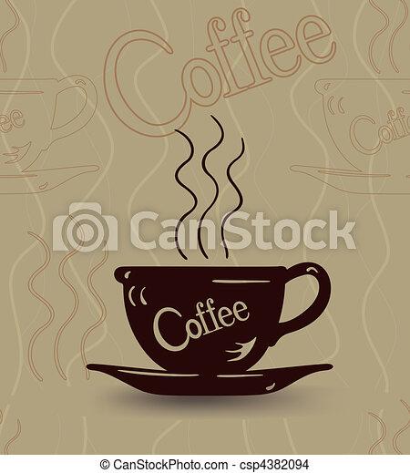 esboço, copo, seamless, café quente, vapor - csp4382094