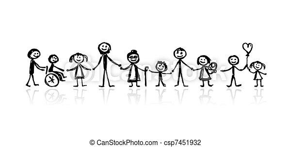 esboço, desenho, seu, família, junto - csp7451932