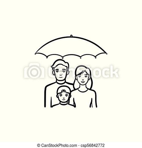 esboço, família, mão, desenhado, icon., seguro - csp56842772