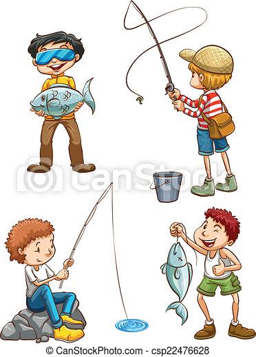 esboço, homens, pesca - csp22476628