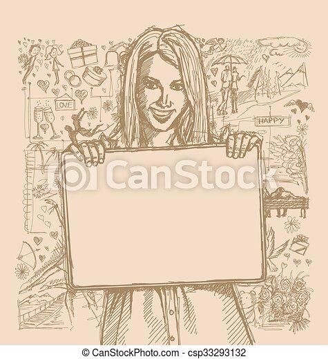 esboço, mulher, amor, segurando, história, contra, fundo, em branco, branca, cartão, feliz - csp33293132
