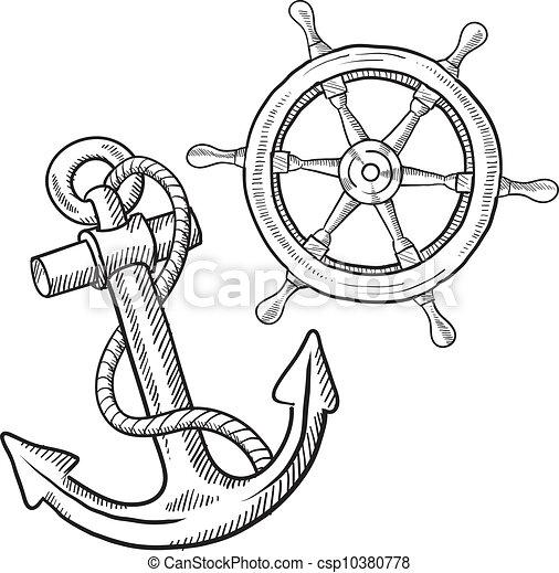 esboço objetos retro marítimo roda estilo formato doodle