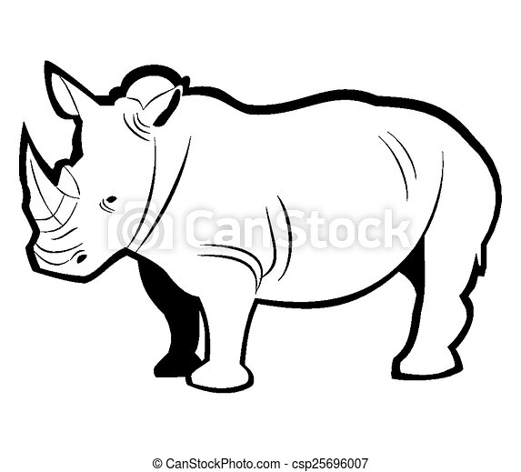 esboço, rinoceronte - csp25696007