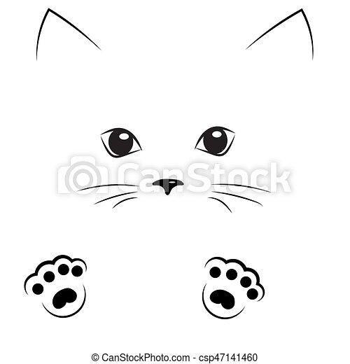 esboço rosto gato vetorial pretas patas desenho esboço gato