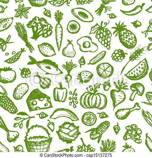 esboço, saudável, seamless, padrão, alimento, desenho, seu - csp15137275