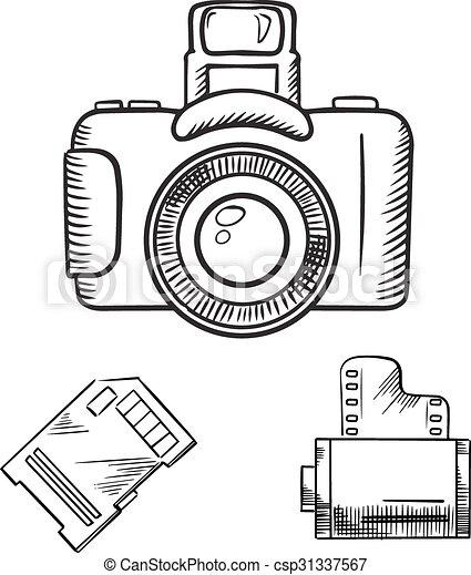 Esbocos Camera Foto Pelicula Memoria Rolo Cartao Esboco