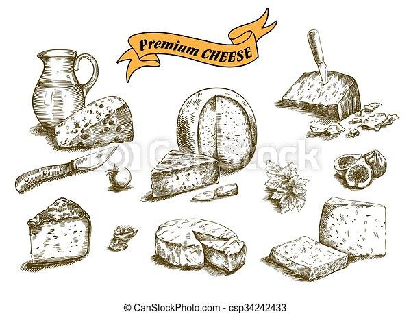 esboços, queijo, natural - csp34242433