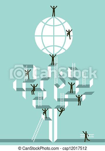 escadaria, negócio global, sucesso - csp12017512