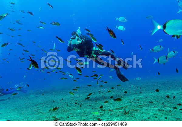 Silueta de buceo cerca del fondo del mar - csp39451469