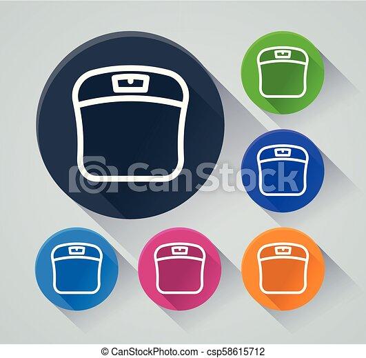 iconos de la escala del baño con sombra - csp58615712