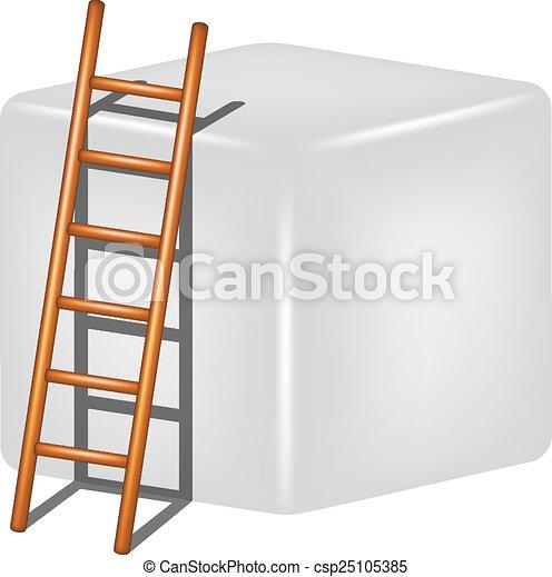 Cubo gris y escalera de madera - csp25105385