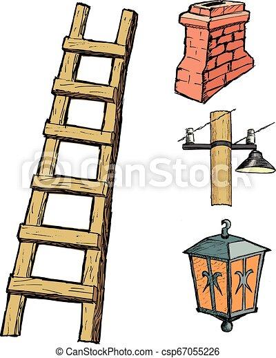 Escalera de madera - csp67055226