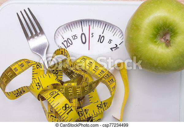 escala, dieta, cinta, medición, manzana, concepto, tenedor - csp77234499