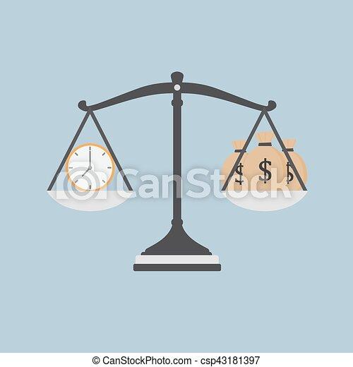 El tiempo es ilustración de dinero, reloj y bolsa de dinero en la escala - csp43181397