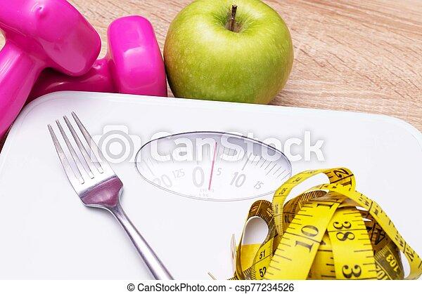 escala, pérdida, peso, dieta, cinta, fruta, concepto, medición - csp77234526