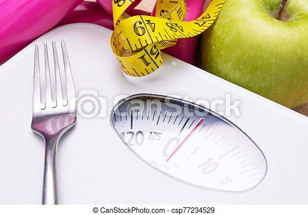 escala, pérdida, peso, dieta, cinta, fruta, concepto, medición - csp77234529