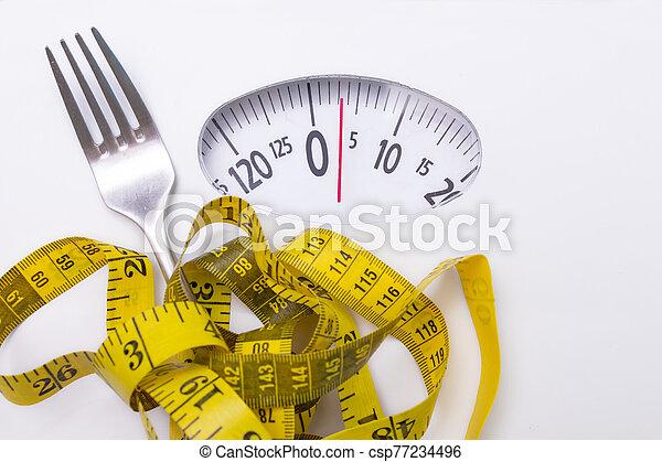 escala, pérdida, peso, dieta, cinta, concepto, tenedor, medición - csp77234496