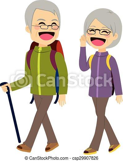 escalade, couples aînés - csp29907826