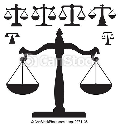Escamas de vector de justicia silueta - csp10374138