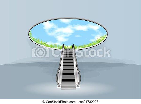 escalator in sky - csp31732237
