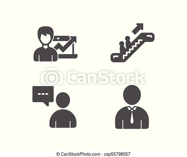 Set Of Escalator Success Business And Users Chat Icons Human Sign