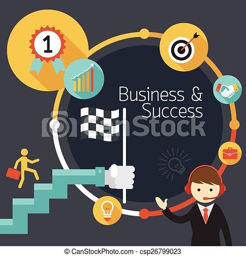 Negocios, escalera al éxito - csp26799023